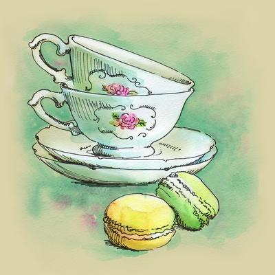 Painted Watercolor French Dessert Macaroons and Tea Cups