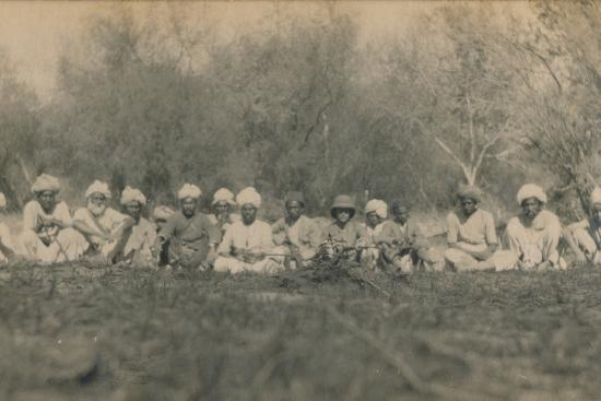 'Lt. Smith & Beaters - Budhapur Tigerhunt', 1922-Unknown-Photographic Print