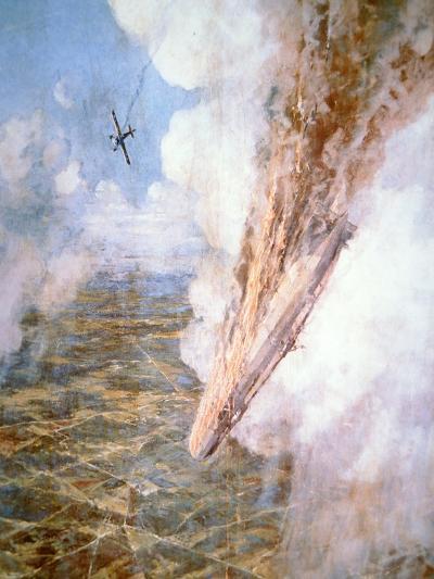 Lt Warneford Shoots Down a Zeppelin Raider over Belgium on 7th June 1915-Frederick Gordon Crosby-Giclee Print