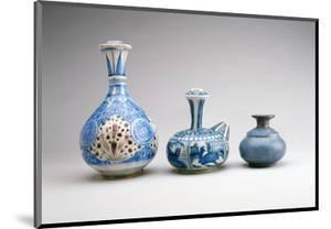 LtoR:Safavid Ghalian Base, Persia, Second Half of 17th Century (Underglaze Painted Earthenware)