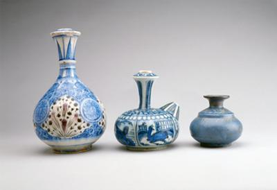 LtoR:Safavid Ghalian Base, Persia, Second Half of 17th Century (Underglaze Painted Earthenware)