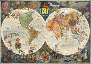 Double Hemisphere Route Map - TAI Airline by Luc-Marie Bayle