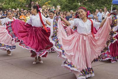 New Mexico, Santa Fe. Hispanic Folkloric Dance Group, Bandstand 2014