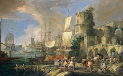 Harbor View with Bridge and Tower, and Ships, 1713