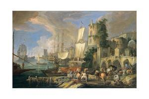 Harbor View with Bridge and Tower, and Ships, 1713 by Luca Carlevaris