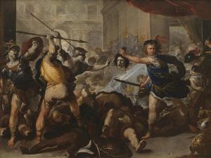 Perseus Turning Phineas and His Followers to Stone, Early 1680S by Luca Giordano