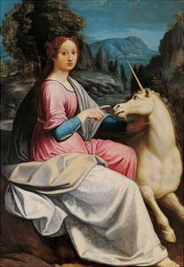 Lady and the Unicorn (probably Giulia Farnese) by Luca Longhi