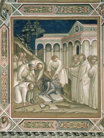 The Heavy Stone, Detail from the Life of St. Benedict, in the Sacristy, 1387