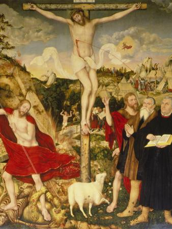 Altar Der Peter- Und Paulkirche in Weimar. Mitteltafel: Christus Am Kreuz by Lucas Cranach the Elder