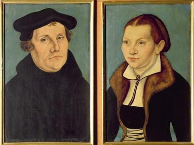 Double Portrait of Martin Luther and Katherin Von Bora, 1529 (Oil on Panel)