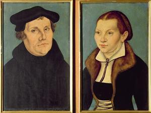Double Portrait of Martin Luther and Katherin Von Bora, 1529 (Oil on Panel) by Lucas Cranach the Elder