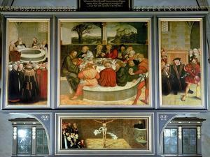 Triptych, Left Panel, Philipp Melanchthon Performs a Baptism Assisted by Martin Luther by Lucas Cranach the Elder