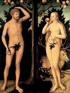 Adam and Eve in the Garden of Eden by Lucas Cranach the Younger