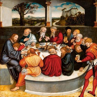Altarpiece, central panel: the Last Supper with Luther amongst the Apostles. 1546 - 47