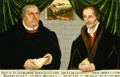Double Portrait of Martin Luther (1483-1546) and Philip Melanchthon (1497-1560) by Lucas Cranach the Younger