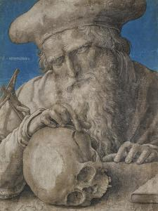 St Jerome, 1521 (Black Chalk with Finely Hatched Brushwork and Blue Ground) by Lucas van Leyden