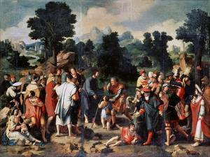 The Healing of Blind Man of Jericho, (Central Pane), 1531 by Lucas van Leyden