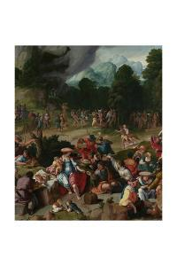 Triptych with the Adoration of the Golden Calf by Lucas van Leyden