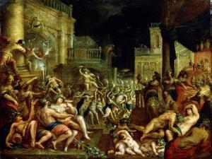 Midas' Feast in Honour of Bacchus and Silenus'. C.16th Century by Lucas van Valckenborch