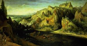 Mountain Landscape with a Surprise Attack, circa 1585 by Lucas van Valckenborch