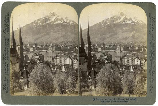 Lucerne and Mount Pilatus, Switzerland, 1903-Underwood & Underwood-Giclee Print