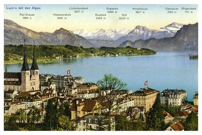 Lucerne and the Alps, Switzerland, 20th Century--Giclee Print
