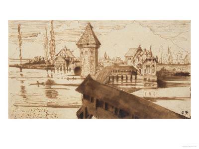 Lucerne, Chapel Bridge-Victor Hugo-Giclee Print