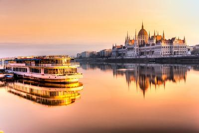 View of Budapest Parliament at Sunrise, Hungary