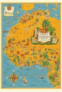 Map of North Africa - French Union - Credit Lyonnais by Lucien Boucher