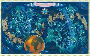 Zodiac Constellations - Star Planisphere by Lucien Boucher