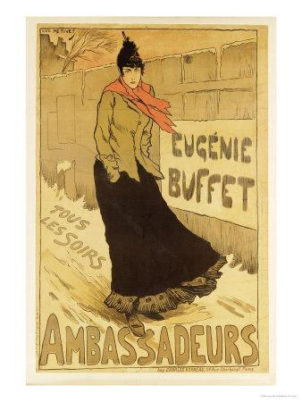 """Reproduction of a Poster Advertising """"Eugenie Buffet,"""" at the Ambassadeurs, Paris, 1893"""
