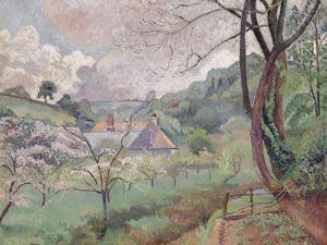 Apple Blossom, Riversbridge Farm, Blackpool, 1921 by Lucien Pissarro