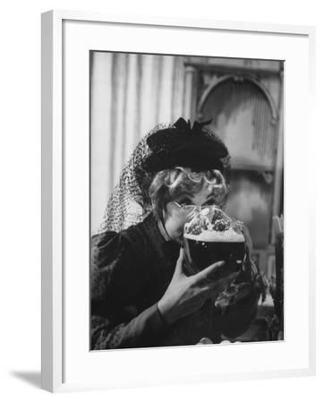 """Lucille Ball Drinking Beer Between Scenes of a Skit in Show Called """"The Good Years""""-Leonard Mccombe-Framed Premium Photographic Print"""