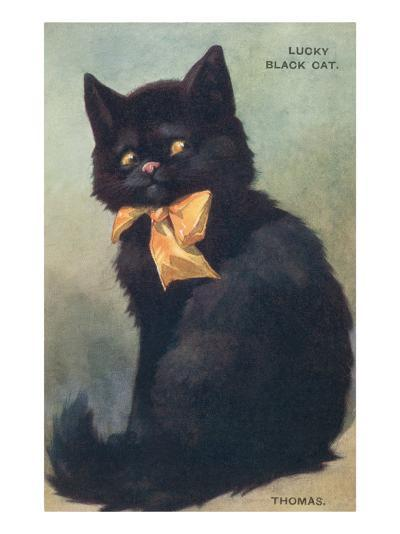 Lucky Black Cat with Bow--Art Print