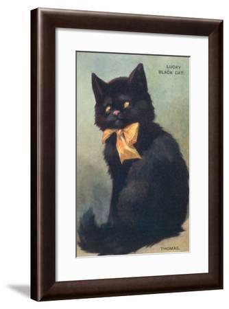 Lucky Black Cat with Bow--Framed Art Print