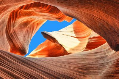 The Blue Sky over the Antelope Slot Canyon, Arizona