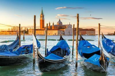Venice Gondolas on San Marco Square at Sunrise, Venice, Italy