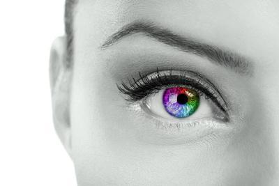 Beautiful  Colorful Eye  - Rainbow Color , close Up