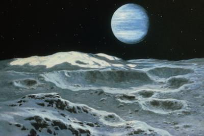 Neptune Seen From Triton by Ludek Pesek