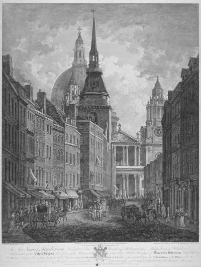 Ludgate Hill, Church of St Martin Within Ludgate and St Paul's Cathedral, City of London, 1795-Thomas Malton II-Giclee Print