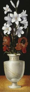 Flower Vase with Brownish-Red and White Lillies, 1562 by Ludger Tom Ring