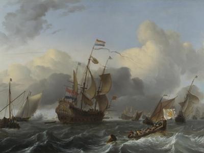 Flagship Eendracht and a Fleet of Dutch Men-Of-War, C. 1670 by Ludolf Bakhuizen