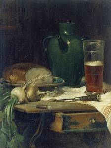Still-Life with Bread and Beer by Ludwig Eibl