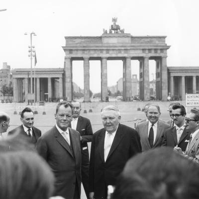 Ludwig Erhard and Willy Brandt, Mayor of West Berlin, Inspect the Sector Border at Brandenburg…-German School-Photographic Print