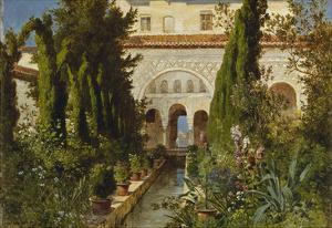 The Garden of the Generalife Palace, Granada, 1885 by Ludwig Hans Fischer