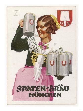 Waitress Brings Four Seidels of Frothy Spaten-Brau