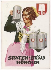 Waitress Brings Four Seidels of Frothy Spaten-Brau by Ludwig Hohlwein