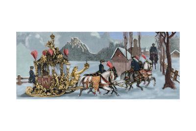Ludwig II of Bavaria (1845-1886) Travelling in Sleigh--Giclee Print