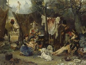 Behind the Curtain, 1880 by Ludwig Knaus