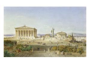 Die Akropolis Von Athen Zur Zeit des Perikles 444 V.Chr, 1851 by Ludwig Lange